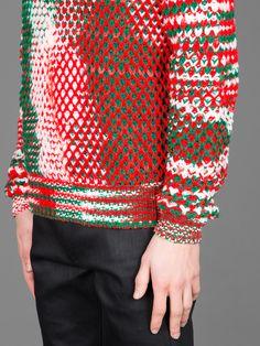 Raf Simons X Sterling Ruby Knitwear Fashion, Knit Fashion, High Fashion, Mens Fashion, Textiles, Sterling Ruby, Knitting Stiches, Raf Simons, Mode Style