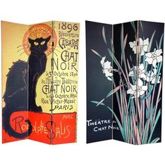 This versatile room divider lets you bring home the splendor of the Belle and Epoque with these art deco poster prints from turn of the century Paris. Handmade of high-quality wood, this screen will add an elegant touch to any room.