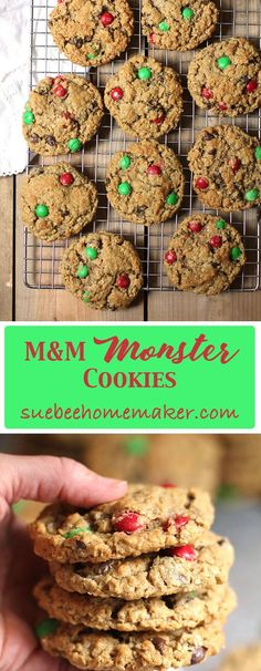 M&M Monster Cookies are loaded with chocolate chips, M&Ms, peanut butter, and oatmeal. So tasty and simple to make. You can also change up the mix-ins! | suebeehomemaker.com