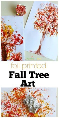 Foil Printed Fall Tree Art- using aluminum foil, fall paint colors, and paper.Art and Crafts 1 Foil printed Fall Tree Art! This is a great fall preschool art project, so easy!Foil Printed Fall Tree Art - Munchkins and Moms Foil Printed Fall Tree Art- Kids Crafts, Preschool Art Projects, Fall Art Projects, Preschool Crafts, Arts And Crafts, Craft Projects, Thanksgiving Art Projects, Fall Preschool Activities, Kindergarten Fall Art Lessons