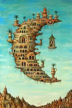 Sergey Tyukanov (1955) es un pintor e ilustrador ruso que posee una desbordante fantasía. Hace reinterpretaciones de autores del pasado, en especial de El Bosco y Giuseppe Arcimboldo.