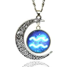Yuriao Jewelry Star Moon Time Gemstone Constellation Aquarius Pendant... ($9.99) ❤ liked on Polyvore featuring jewelry, necklaces, gemstone jewellery, gemstone pendant necklace, pendant jewelry, gemstone jewelry and star pendant necklace