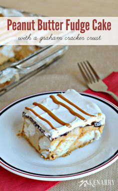 Peanut Butter Fudge Cake Recipe with a graham cracker crust is a great dessert if you're looking for a delicious frozen treat idea for hosting a summer party with friends.