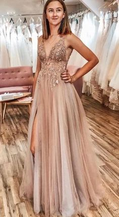 Buy A Line Tulle V Neck Applqiues Prom Dresses With Slit, Spaghetti Straps Long Formal Dresses online.Shop short long ombre prom, homecoming, bridesmaid evening dresses at Couture Candy Cocktail party dresses, formal ball gowns in ombre colors. Pretty Prom Dresses, A Line Prom Dresses, Tulle Prom Dress, Wedding Dresses, Elegant Dresses, Dresses Dresses, Quinceanera Dresses, Prom Dress Long, Long Dresses