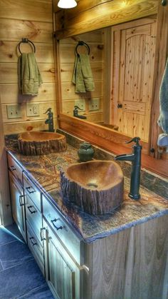 Custom Concrete wood log sink tree basin vessel vanity bathroom decor art rustic cabin wood bamboo teak cedar live edge lake house home barn - Handmade concrete sink to emulate a wooden log sink. Rustic Bathroom Designs, Bathroom Ideas, Bathroom Renovations, Bathroom Modern, Minimalist Bathroom, Bath Ideas, Rustic Home Design, House Renovations, Cabin Design