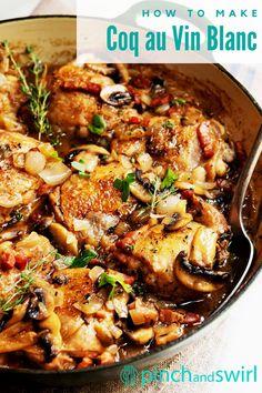 Dutch Oven Chicken Thighs, Chicken Thigh Recipes Oven, Baked Chicken Recipes, Healthy Chicken, Chicken Coq Au Vin Recipe, French Chicken Recipes, Dutch Oven Uses, Dutch Oven Cooking, Cooking Wine