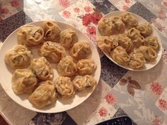 Steamed manti dumplings with spinach and ground beef, and spices of course...