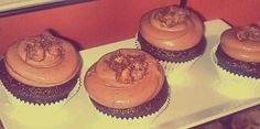 Ghirardelli Chocolate & Banana Cupcakes with Nutella Buttercream Frosting topped with Chocolate Hazelnut Meringue Cookies.
