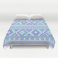 Tribal Art Creation Purple and Mint by Tjc555 #homedecor #duvetcover #bedroom