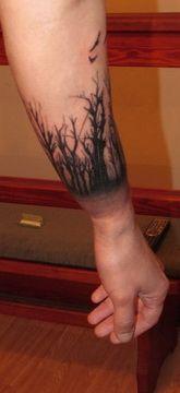 tetoválás, alkar tetoválás, erdő, fa