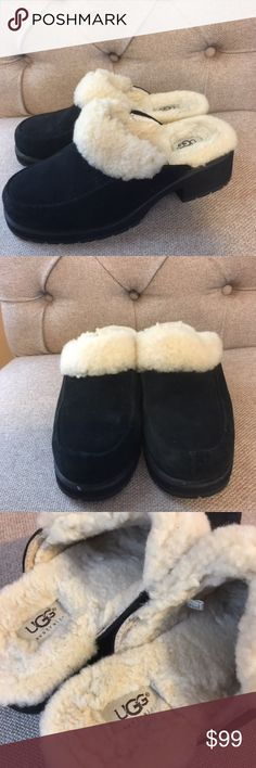 UGG Clogs These are new authentic UGGs they have only been tried on indoors.  Beautiful black suede with UGG pure fur. UGG Shoes Mules & Clogs