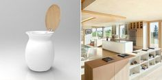 Blanco y cerezo para esta cocina luminosa. Vase, Interior Design, Kitchen, Home Decor, Waste Container, Cubes, Vases, Kitchens, Trendy Tree