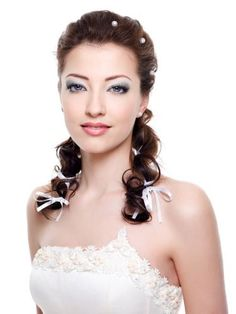 Bridal Hairstyle with white ribbons