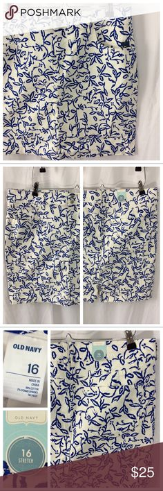"""Old Navy Stretch Skirt NWT and perfect for summer! This white stretch skirt has all-over royal blue foliage pattern. Standard front double button and zip closure, belt loops, 5-pocket construction. Crisp cotton with 2% spandex for comfort and fit, slight slit in back for additional movement. Size 16, Measurements when laying flat: 19"""" waist, 20"""" total length. NWT - excellent unworn condition. Old Navy Skirts Mini"""