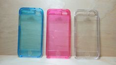 For Apple iPhone 5 / 5s Blue / Clear / Pink Hard plastic Case with Front Cover