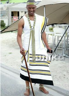 Xhosa Traditional Attire For Men Latest Designs - Sunika Traditional African Clothes African Dresses Men, African Clothes, African Men, African Attire, African Style, South African Traditional Dresses, Xhosa Attire, African Accessories, Africa Fashion