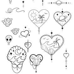 Women's Delicate Heart Tattoo Ideas – Tattoo Sketches & Tattoo Drawings Mini Tattoos, Trendy Tattoos, Love Tattoos, Body Art Tattoos, Tattoos For Women, Tatoos, Beachy Tattoos, Heart Tattoos, Alien Tattoo