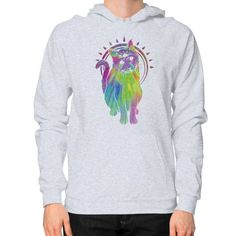 Psychic psychedelic trippy cat Hoodie (on man)