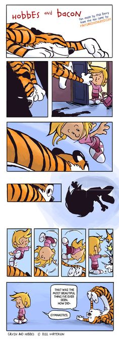 """Hobbes and Bacon 1 of 2 - Phill Berry. This was inspired by the """"Pants are overrated"""" webcomic series."""