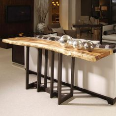 Natural Edge Slab Console w/ Bronze Finished Brass Base
