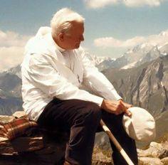 Pope John Paul II, out on a hike. Catholic Saints, Roman Catholic, Papa Juan Pablo Ii, Pope John Paul Ii, Paul 2, Mother Mary, Pope Francis, Faith, Saint John