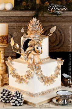 Golden Cake for the Holidays Pretty Cakes, Beautiful Cakes, Amazing Cakes, Ugly Cakes, Golden Cake, Teapot Cake, Woodland Cake, Thanksgiving Cakes, Fantasy Cake