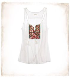 Embroidered Drapey Tank