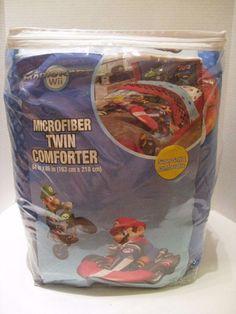 New MarioKart Wii Microfiber Twin Comforter Luigi Nintendo 64''x86'' Yoshi Mario #Nintendo