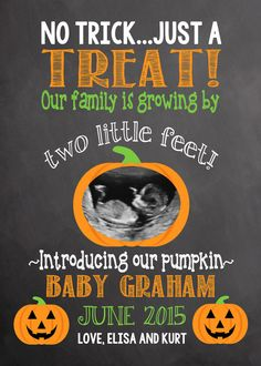 Pregnancy Announcement Halloween Pregnancy Baby Announcement Announcement…