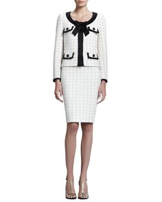 Gold Cord Plaid Knit Jacket and Pencil Skirt  by St. John Collection at Neiman Marcus.