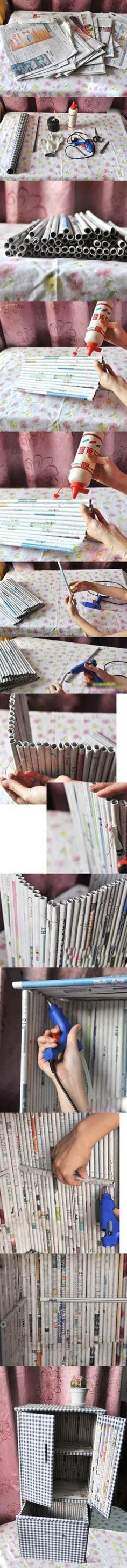 Reuse the newspapers--wow, this would take an amazing amount of patience....  But, really, how cool is this thing?!