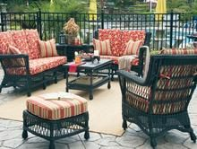 Legacy Outdoor - Wicker furniture for sunroom, covered patio, porch, or living room.  Sofa, loveseat, chair, coffee table, end table, rocking chair, wing back chair,  ottoman, dining chairs, chaise lounge and table.