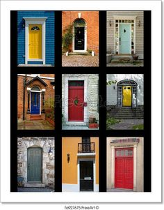"""Collection Of House Front Doors From Around The World"" - Art Print from FreeArt.com"