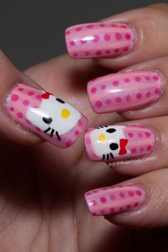 Hello Kitty nail art ill try this eventually for my daughter! She's gonna LOVE it!!