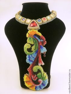 Bead embroidered necklace | Купить Колье Праздничный галстук - комбинированный, Новый Год, праздники, блестящий бисер, кристаллы