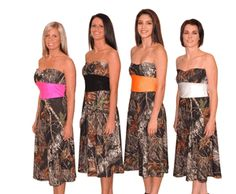 Camo bridesmaid dress every other one pink and orange?!