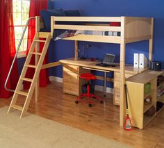 24 Cute Kids Loft Beds With Desk Underneath : Maxtrix Kids High Loft Bed Design with Laptop Desk Underneath and Wheeled Red Chair in Blue Ki...