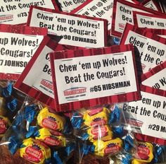 Pep rally candy bags with slogans I made for my sons' youth football team. Football Treat Bags, Football Treats, Football Spirit, Football Cheer, Youth Football, Football And Basketball, Cheer Spirit, Softball, Soccer Locker