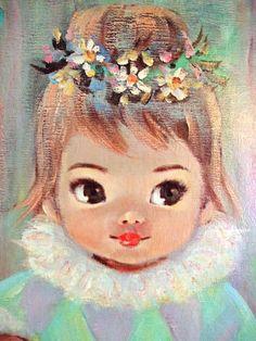 big eyed art | Vintage 1960s Art Print Gigi by Sherle, Big Eyed Clown Girl with ...