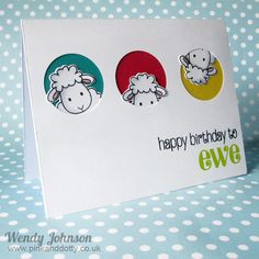 handmade birthday card ... Feeling Sheepish with punny sentiment .... negative space circles backed in bright colors with lamb heads peeking out ... super cute ... clean and simple styling ...