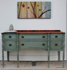 The color I want to use for the vanity - Buffet Furniture makeover - American Paint Company - Dollar Bill - Turnstyle Vogue Furniture Rehab, Decor, Furniture Diy, Furniture Makeover, Painted Furniture, Diy Furniture, Furniture Inspiration, Buffet Furniture, Vintage Furniture