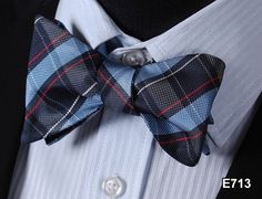 E713 BLUE, RED Plaid Check Bow Tie 100%Silk Men Classic Wedding Butterfly Self Tie