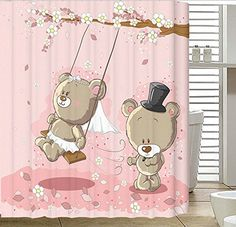 "Angelwings Cheap Price Fashionable Designed Shower Curtains (72"" X 72"") With Swing Teddy Bear Pattern"