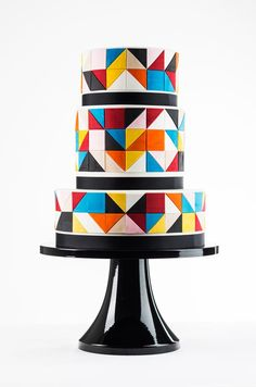 Brightly colored geometric tiles cake!