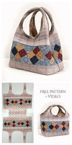 Diy two way quilt handbag free sewing pattern + video fabric art diy free quilting pattern dutch treat Bag Sewing Pattern, Bag Patterns To Sew, Sewing Patterns Free, Free Sewing, Sewing Tutorials, Handbag Patterns, Quilted Bags Patterns, Doll Patterns, Pouch Pattern