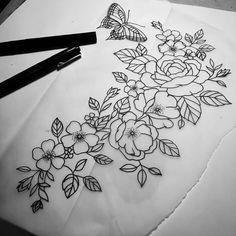 Pretty Tattoos, Love Tattoos, Tatoos, Flower Tattoo Arm, Arm Tattoo, Sketchbook Inspiration, Tattoo Inspiration, Drawing Practice, Embroidery Patterns