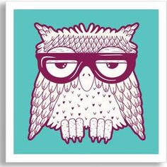 "Gallery Direct Kids Art Hipster Owl in Purple Glasses by Tets Framed Paper Art Painting Print Size: 40"" H x 40"" W x 2"" D"