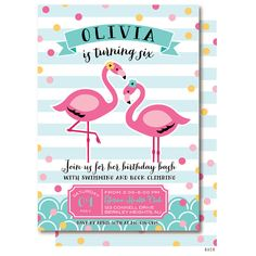 Flamingo Birthday Party Invitations by DelightPaperie on Etsy