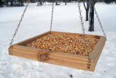Hanging Tray Bird Feeder - Wood Bird Feeder