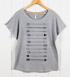 Women's ARROW Dolman Slouchy Top- Loose Fitting T Shirt- Off the Shoulder Top- Arrow Graphic Tee- Women's Tribal Top on Etsy, $25.46 CAD